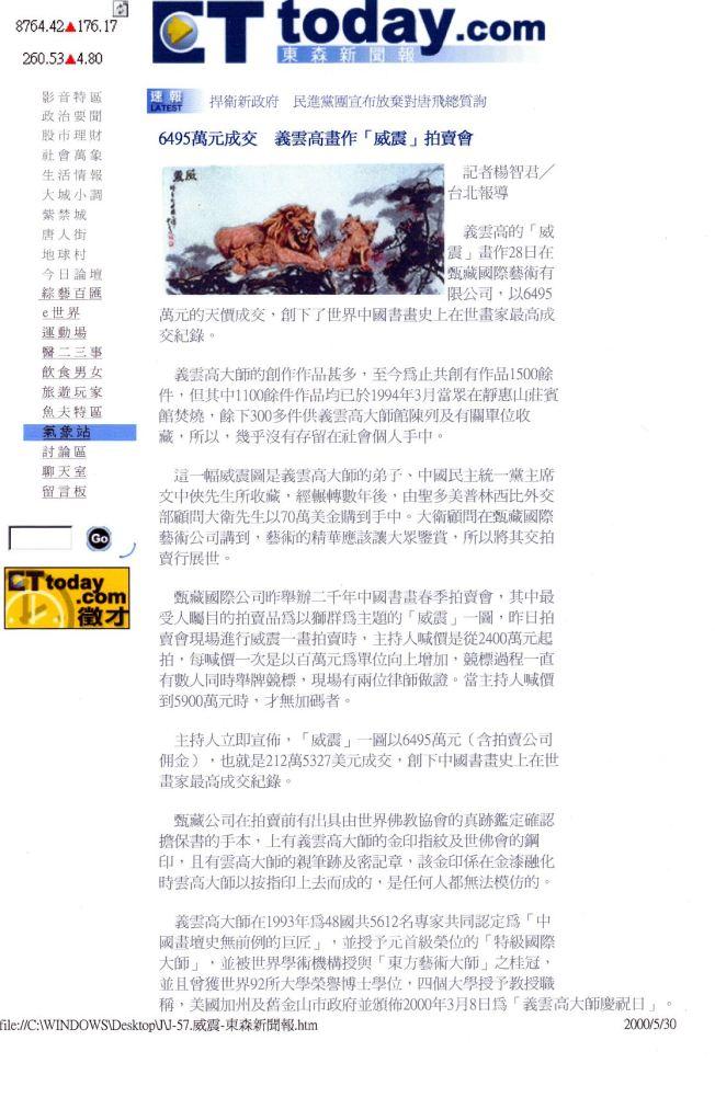 6495萬成交 義雲高畫作「威震」拍賣會